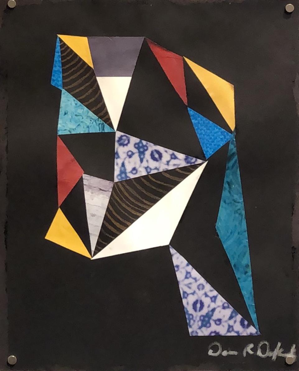 Dennis Redmoon Darkeem  Face It  Collage & white pen on black paper 8 x 11 in