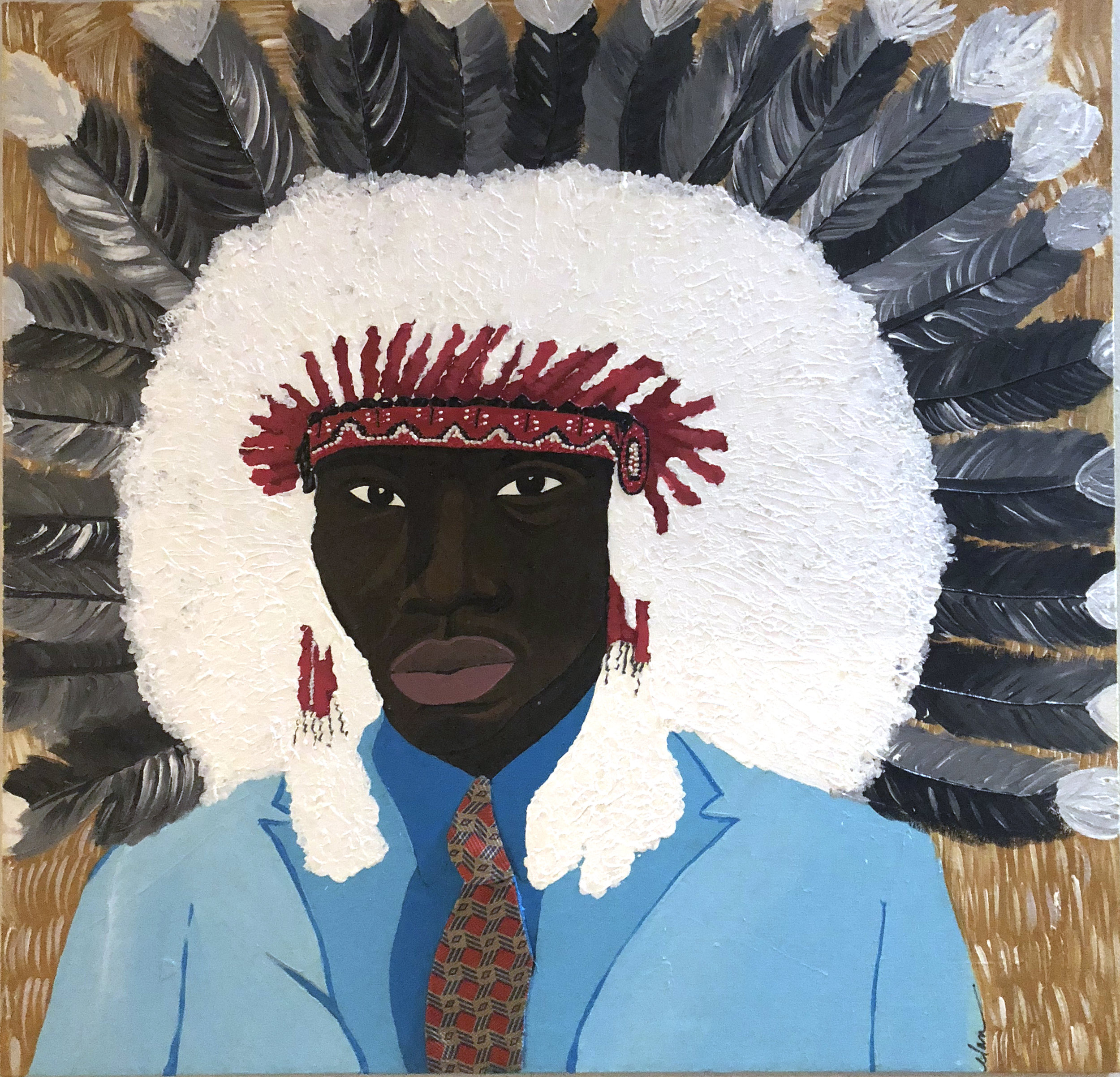 Elan   Chief Rocka  Acrylic paint, fabric on canvas   27 x 27 in