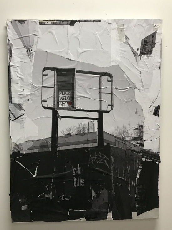 Kate Fauvell  Refugees Welcome  Photo, collage, acrylic on paper 24 x 36 in