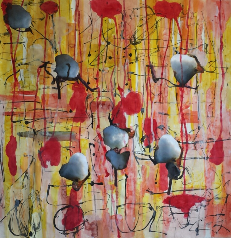 Kimberly Becoat  Project Cotton Seeds  Watercolor, sumi ink, collaged  images on paper 35 x 35 in