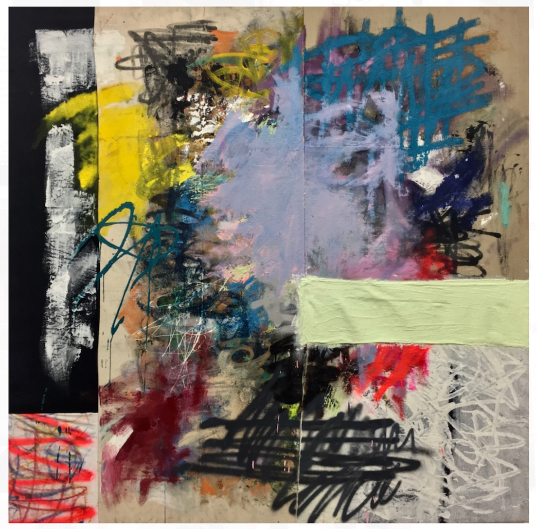 Yo Ask, Let Me Get a Chopped cheese, no lettuce   Acrylic, enamel, graphite, ink oil pastel, plaster cast, oil stick and spray paint on linen, canvas and plastic 56 x 56 in