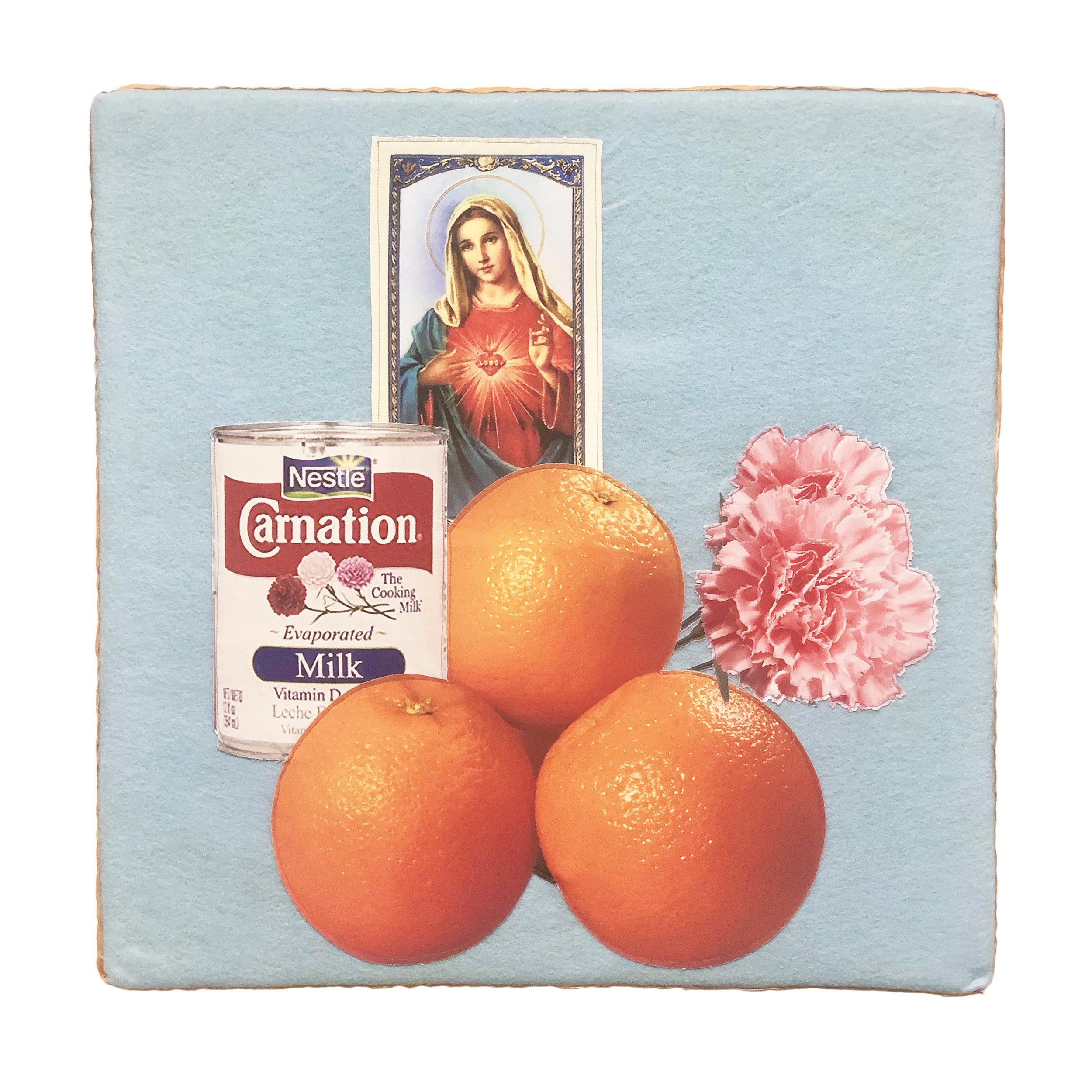 For Tia, Morir Soñando   Digital Print on Brush Suede, Cotton, Felt on foam 22 x 22 x 2 in SOLD