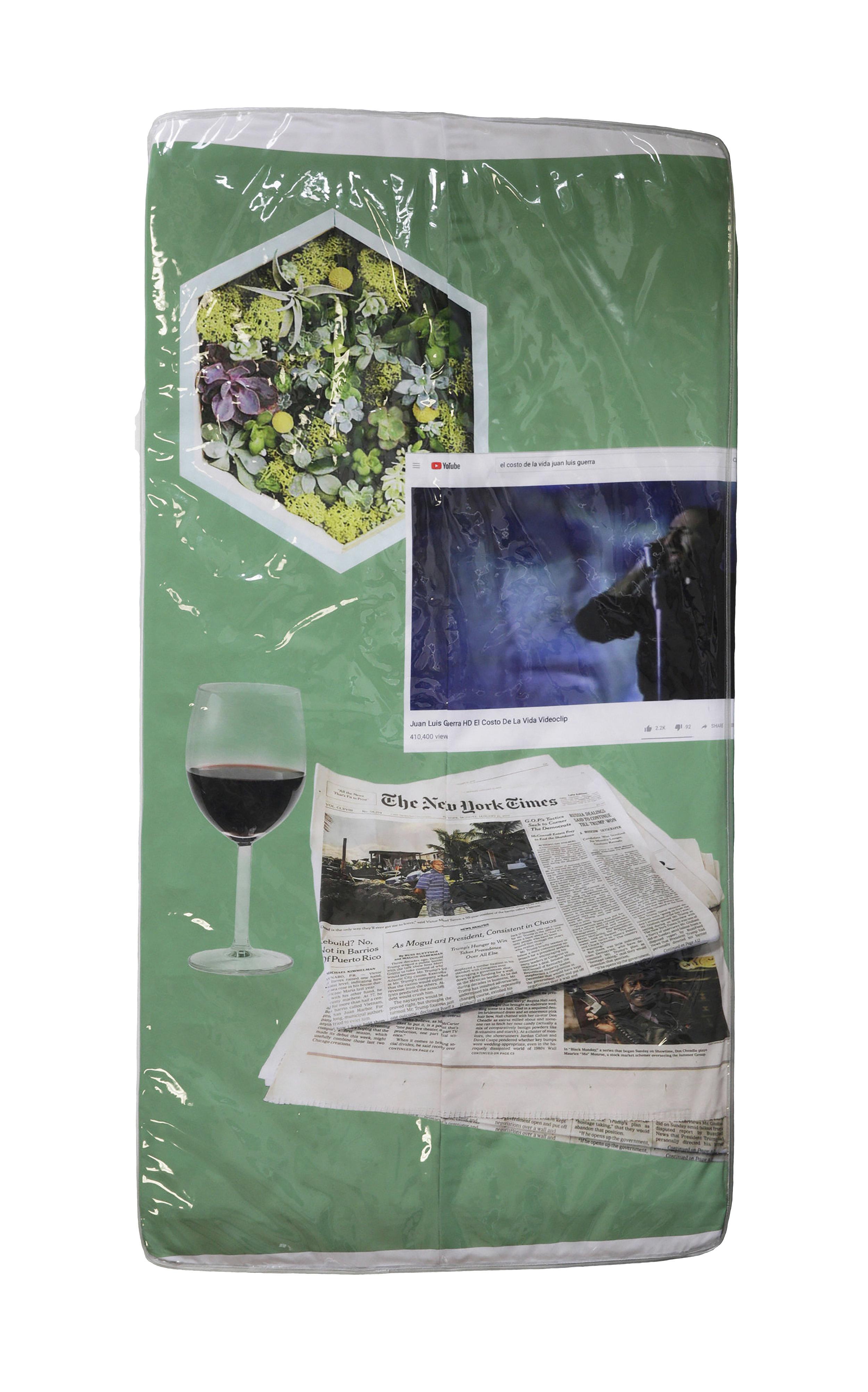 El Costo de la Vida      Digital print on cotton fitted sheet, Twin Mattress 74 x 38 1/2 x 6 in $12,000