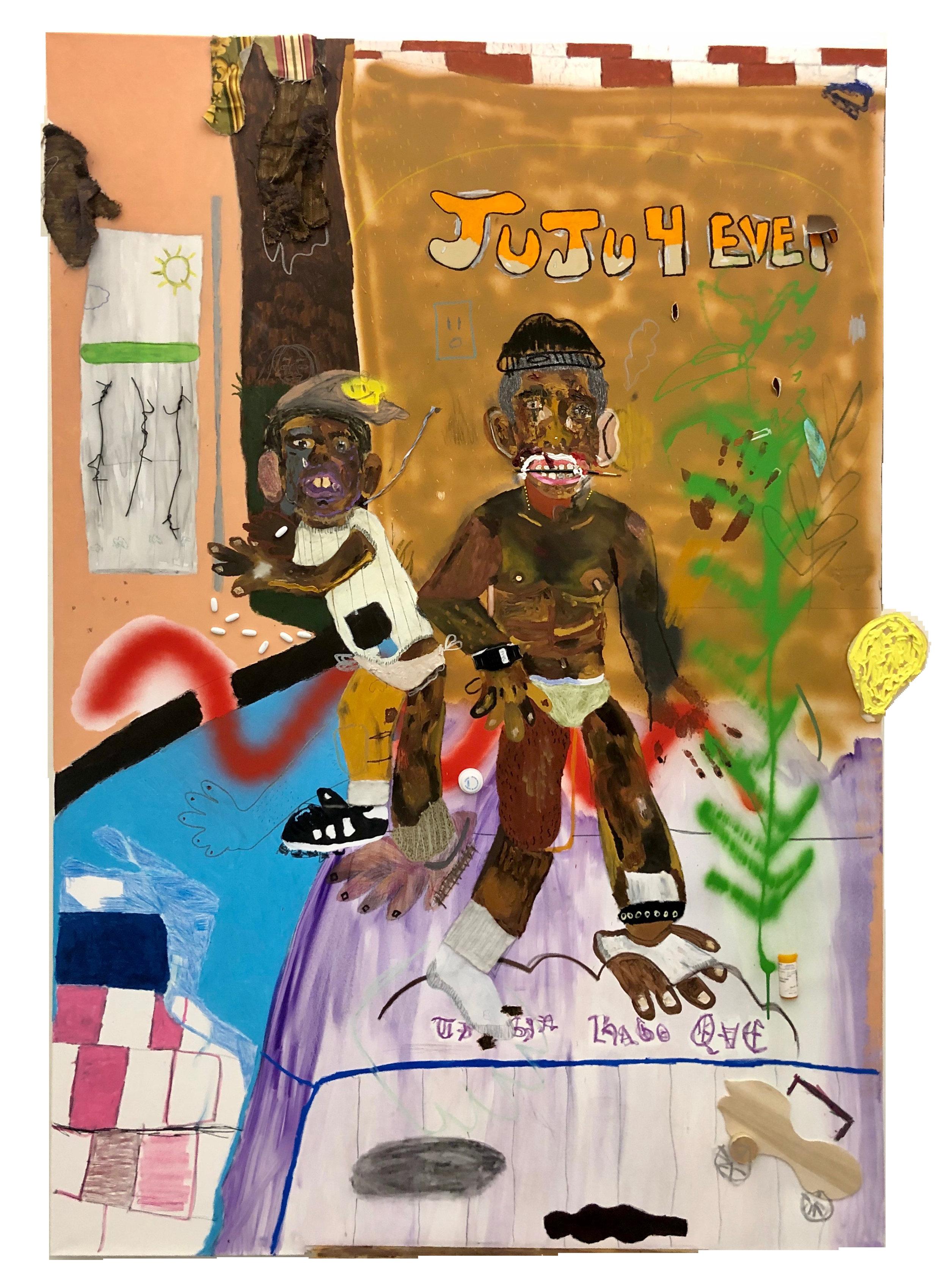 Que Hago Sin Ti   Mixed media on canvas 72 x 49 in $7,000