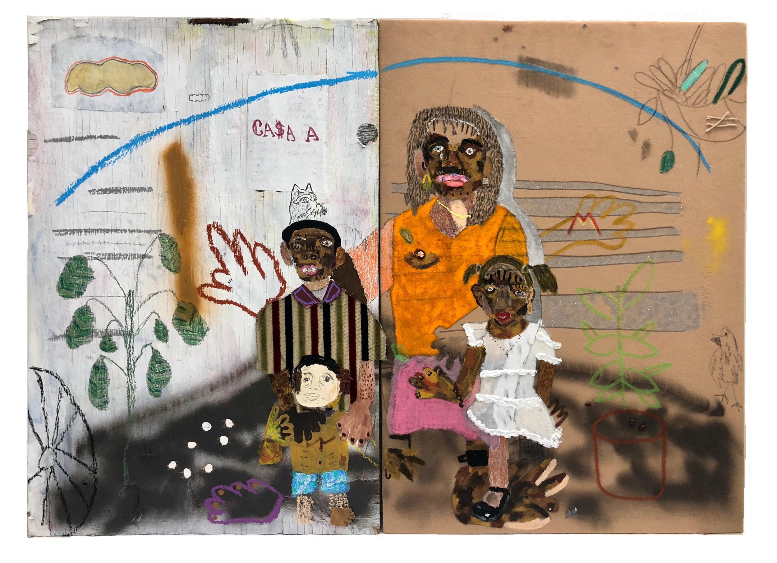 Llegando a la frontera   Mixed media on canvas 36 x 52 in $5,500