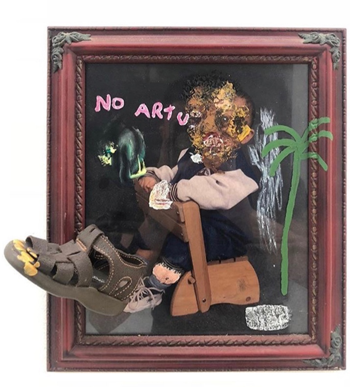 No Artu   Mixed media on frame 18 x 16 in $1,600