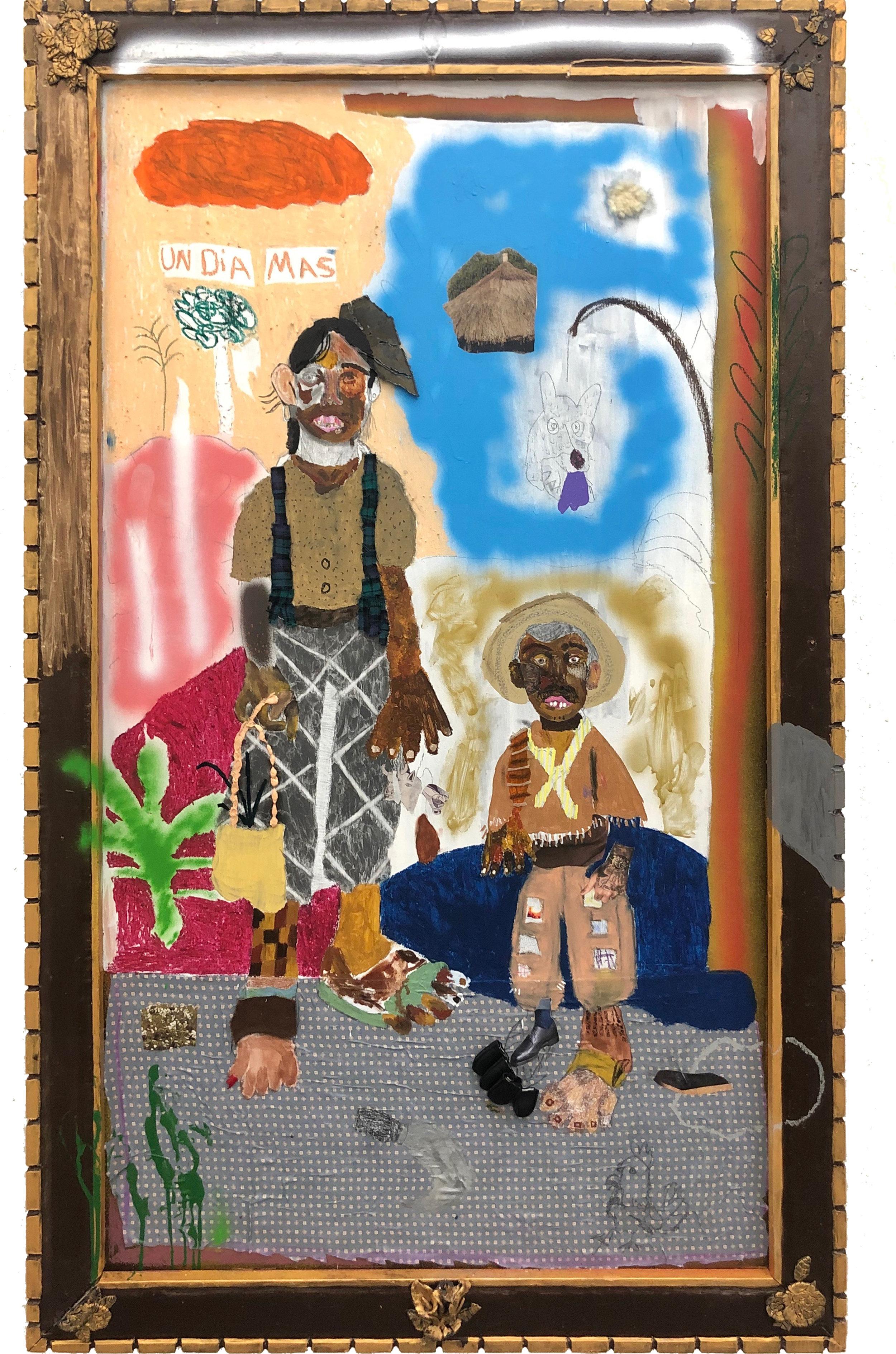 Un Dia Mas   Mixed media on canvas 68 x 42 in $6,500