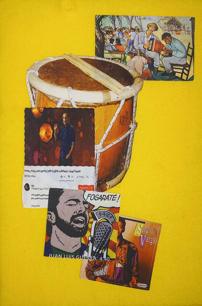 Poetry, Music & Identity   Digital print on fabric, felt, cotton & foam 24 x 36 in