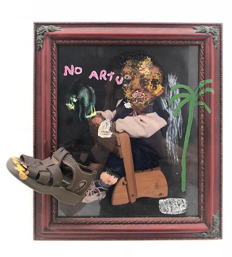 No Artu   Mixed media on frame 18 x 16 in