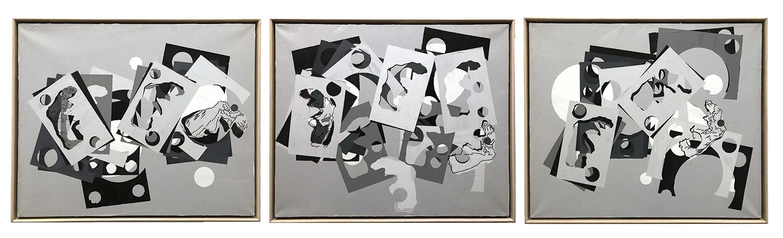 Samothrace Frieze Triptych  Acrylic on linen 36 x 132 in