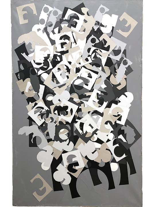 Acroterion in Grey    Acrylic on linen 72 x 47 in