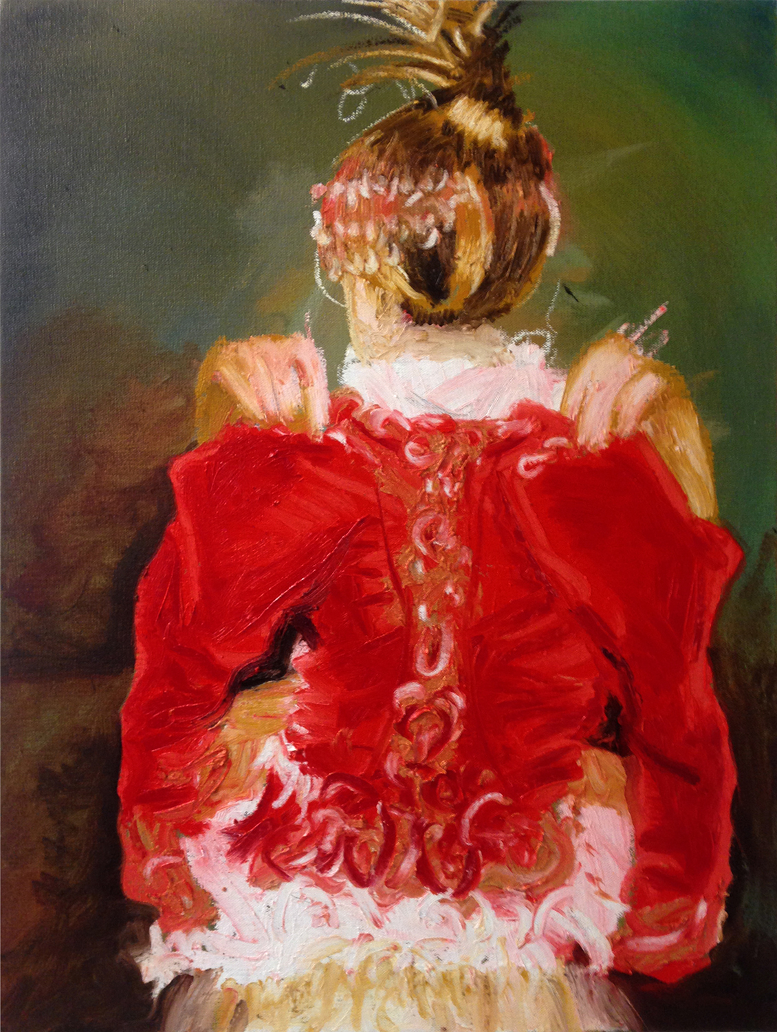 Red Coat  Oil and encaustic on canvas 24 x 18 in