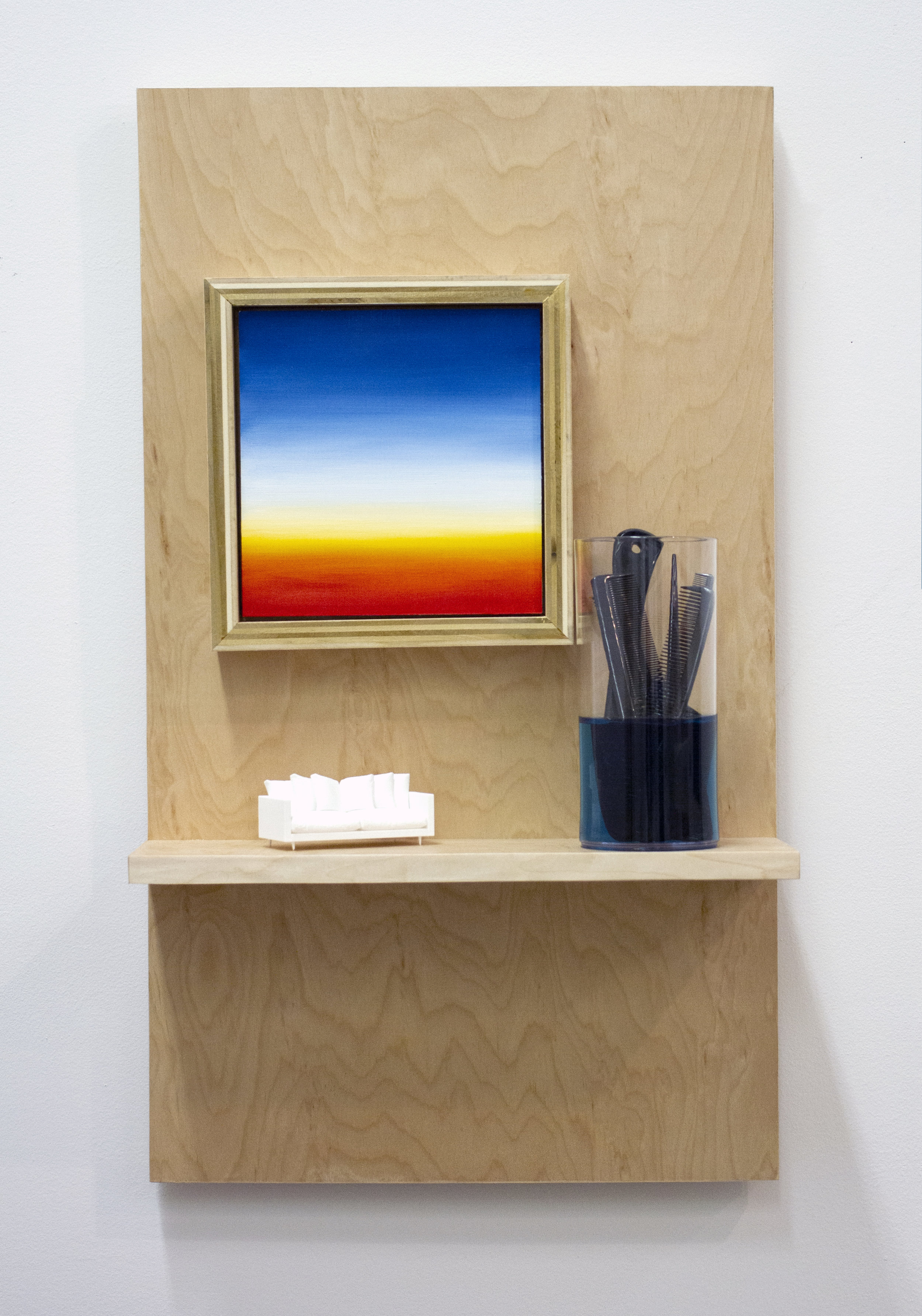 Parlor  Oil on panel, wood, polyurethane, polycarbonate plastic, ABS plastic, plastic combs, epoxy resin  15 x 24 x 6 in