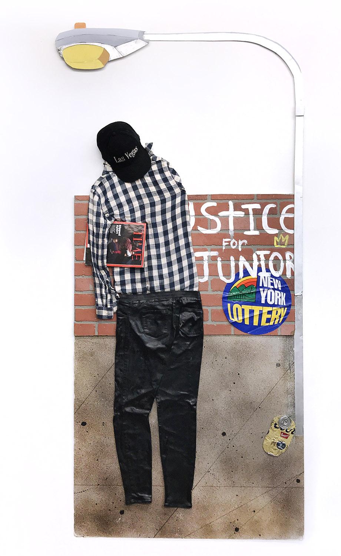 Bodega    Mixed media, spray paint, acrylic, sticker, and faux brick on foam board 72 x 41 x 4 in