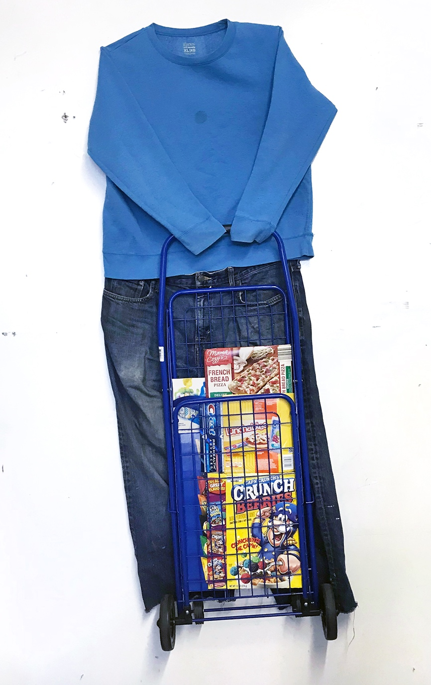 The Shopper   Shopping cart, cardboard packaging, jeans, and a sweatshirt 61 x 27 x 2 in