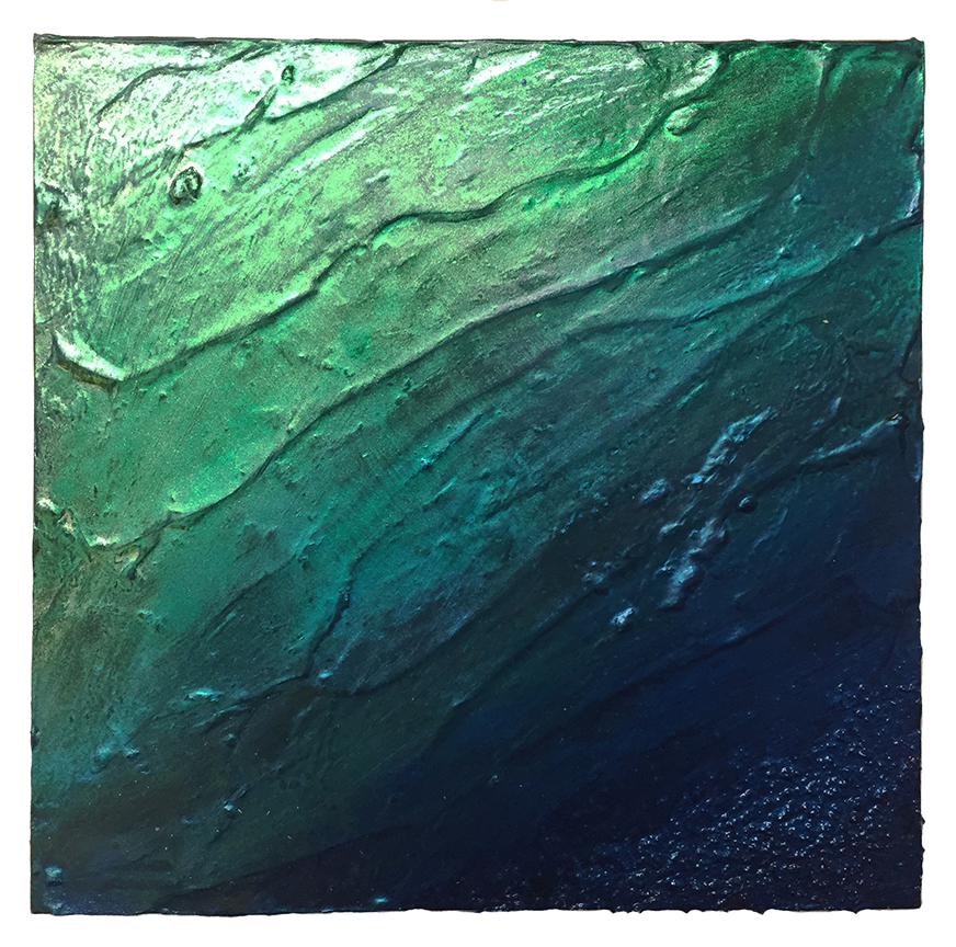 Meditation in green/ blue   Oil on panel 12 x 12 in