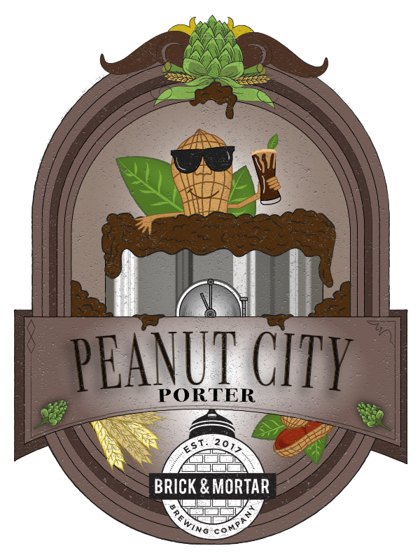 Peanut City Porter - PorterABV: 4.7%Suffolk, AKA: The Peanut City, finally has its own beer. This porter is not what you would expect. A surprisingly light porter that has a lot to offer. Crafted with real peanuts, the scent of fresh peanuts hits your nose. Its complex flavor of peanuts, coco nibs and roasted barley leaves you craving another sip. A great beer for all times of the year.