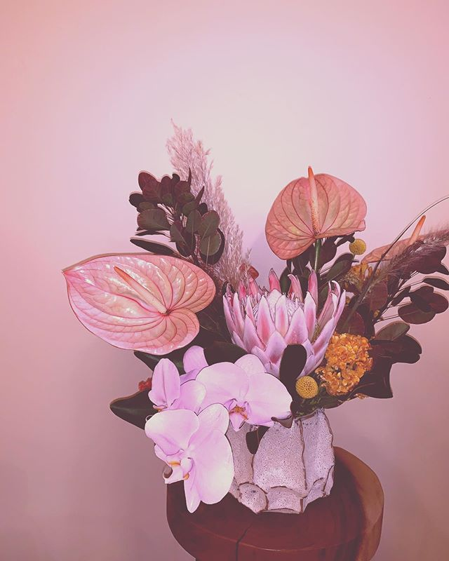 A lot of the time the arrangements I like the most are from an event's leftovers, when nothing is at stake 💐 . . . . . . . . . . #floral #flowers #chicago #design #chicagocreative #chicagofloral #floraldesign #chicagoflorist #florist #evanstonflorist #blooms #nightshade #nightshadechicago #nightshadeflorals #💐 #womenowned #womanowned #chicagowomen #shopsmall #shoplocal #anthurium #protea #cockscomb #orchid