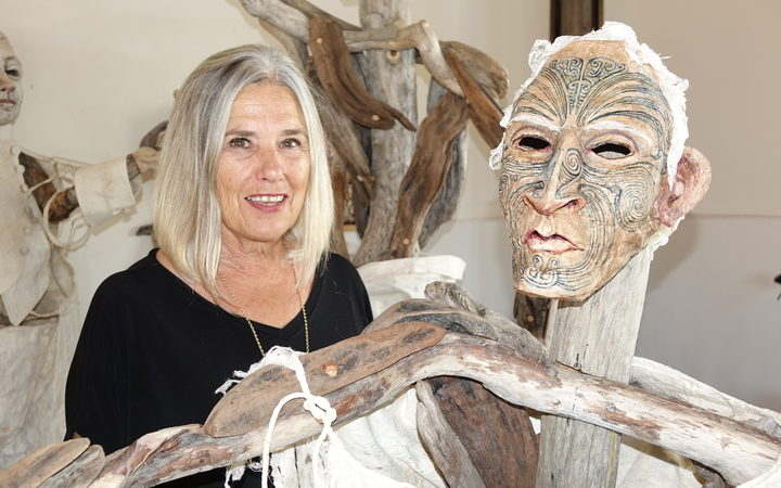 Sally Burton with her latest mixed medium exhibition  Pale History  at The Suter Art Gallery 2017.  Image courtesy of Suter Art Gallery.