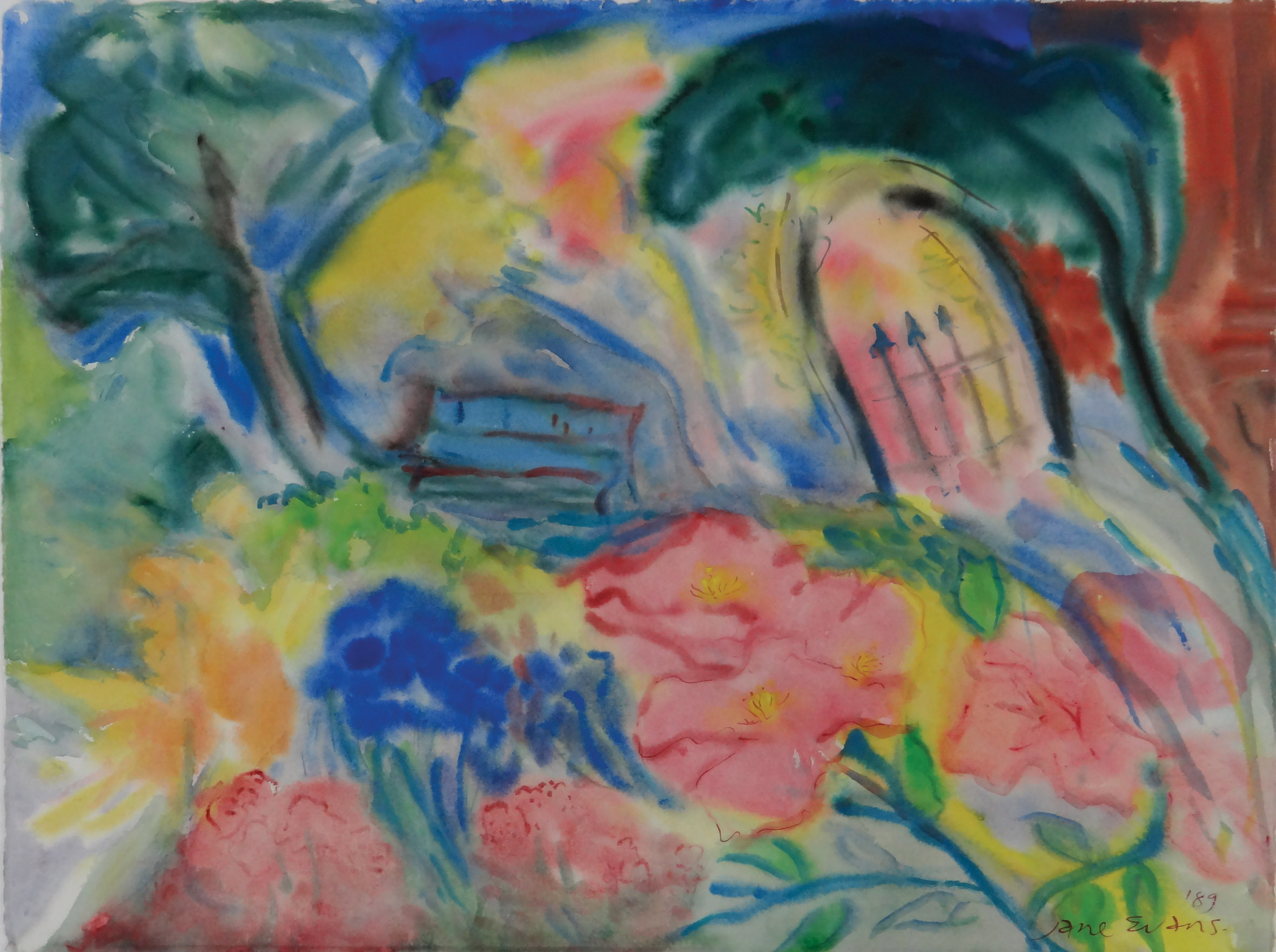 Jane Evans - In the Garden 1989 watercolour 58 x 76.JPG