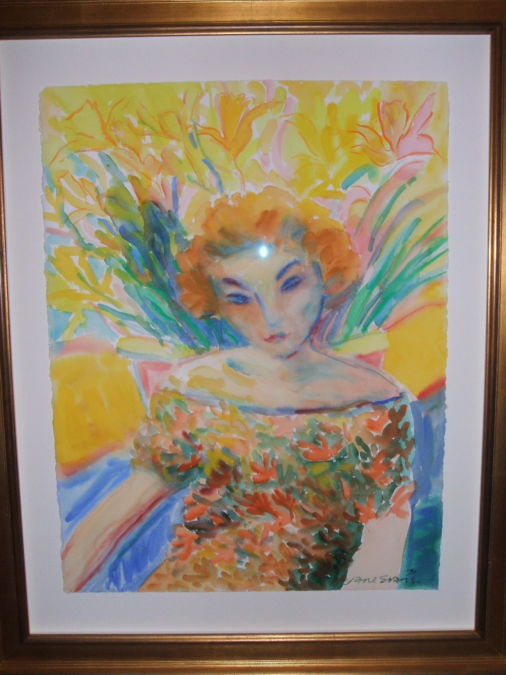 Jane Evans Girl in a Floral Dress 76x58 watercolour 1991 from the Sister Series.JPG