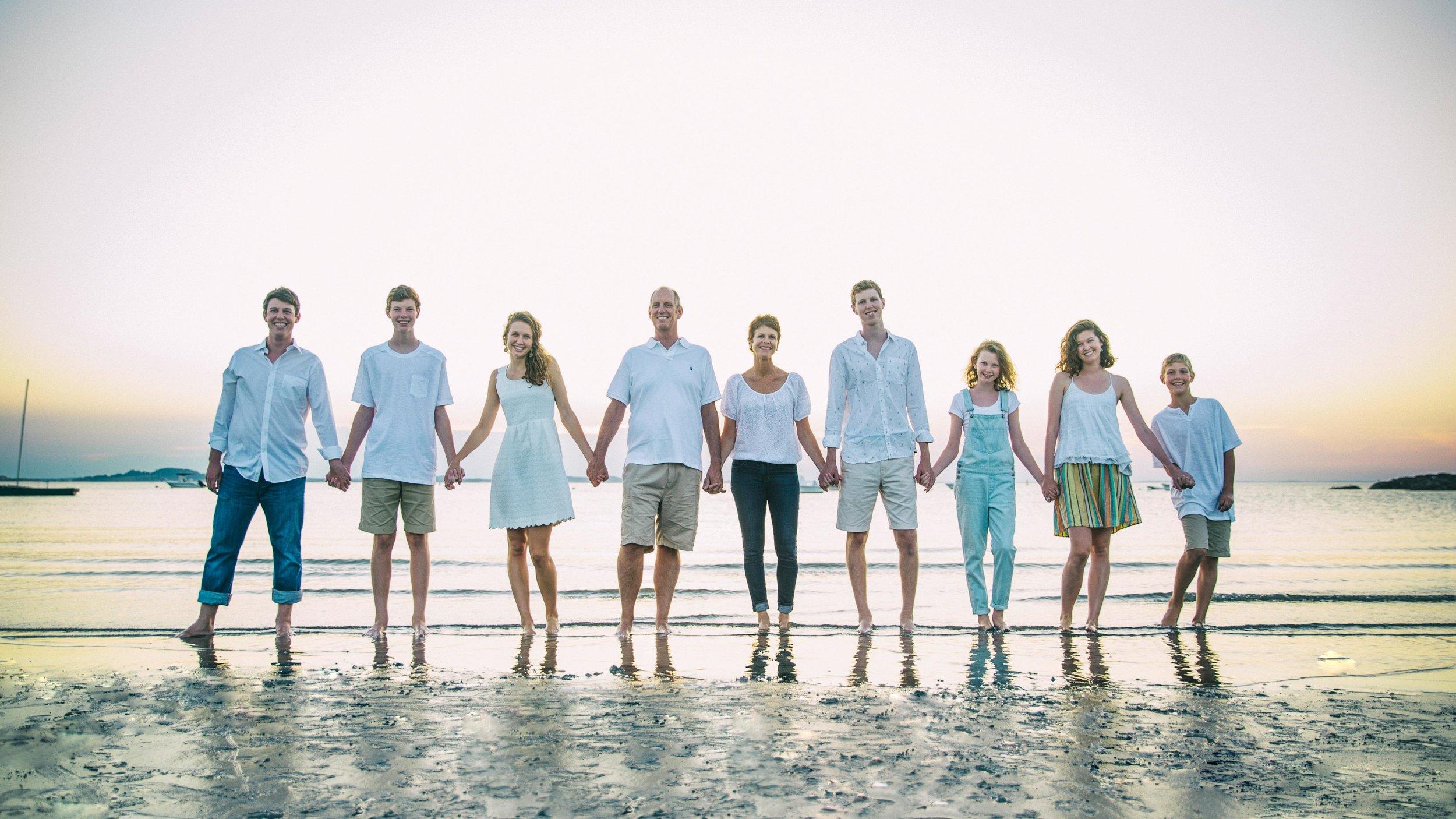Traditional beach family portrait, Rockport, MA.