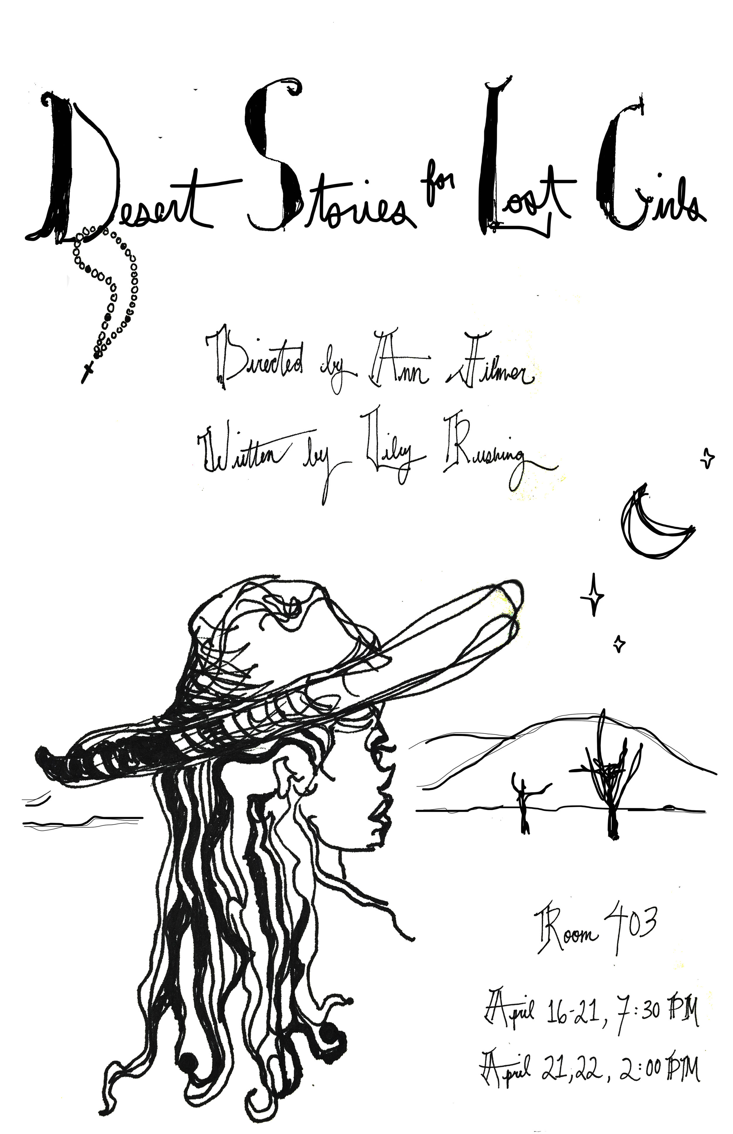 Poster for my play  Desert Stories for Lost Girls  designed by Eva Minh-Chau Liebovitz.
