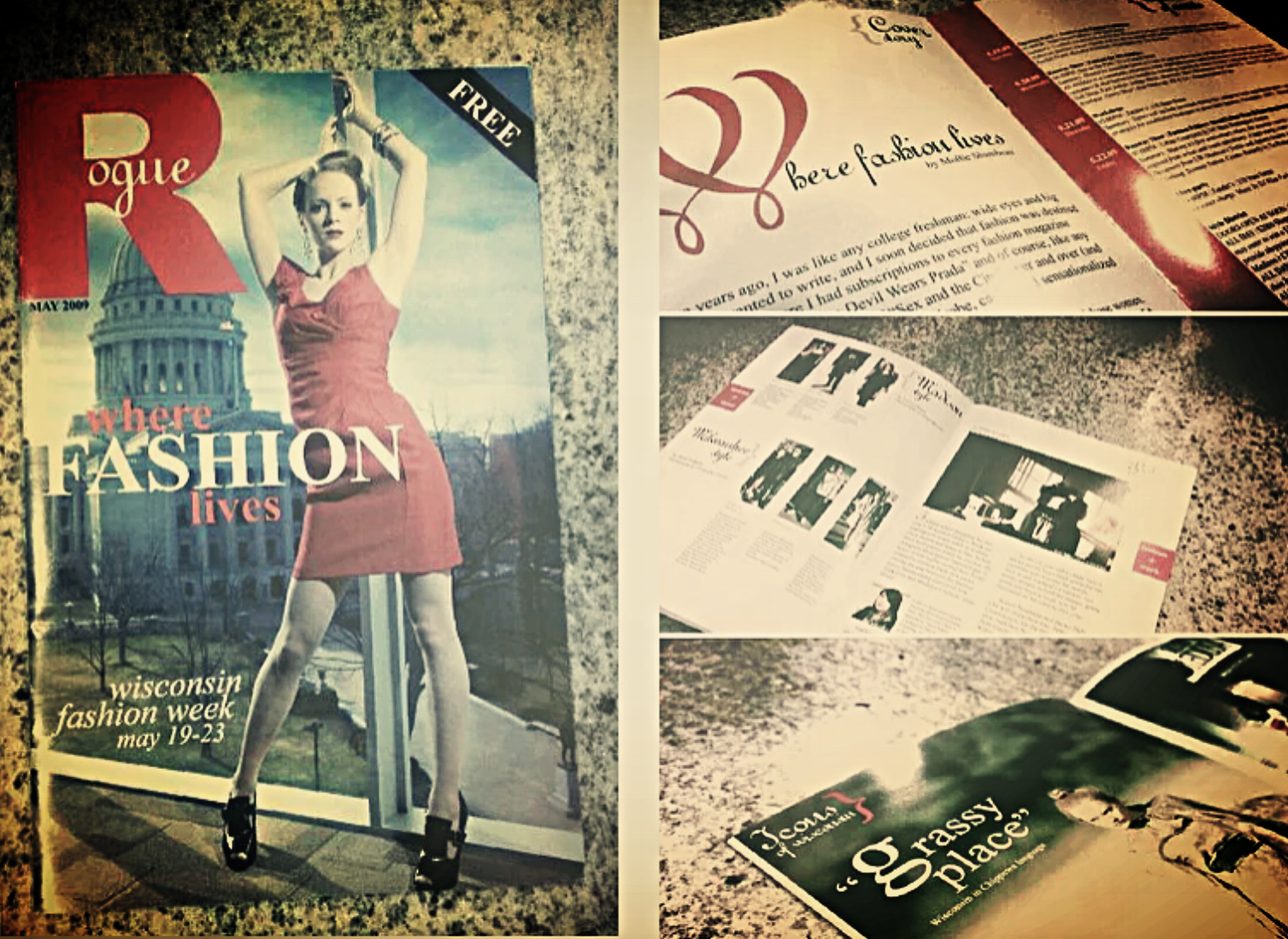 In 2009, I spearheaded the creation of    Rogue   , a fashion magazine designed to promote Wisconsin Fashion Week 2009. In addition to recruiting all the writers, coordinating a street fashion spread, and editing the articles, I wrote several pieces in the publication. It served as the program for Wisconsin Fashion Week, May 19-23, 2009.