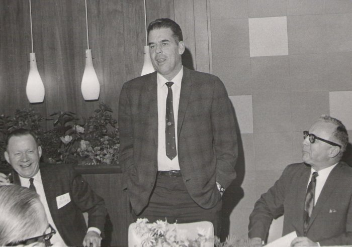 The Cleveland Club representatives above are: The man in the middle is the incomparable Otto Graham. The men on left and right are Club founders Ed Seitz and Joe Gambatese. This Club meeting was held in the late 1960s.