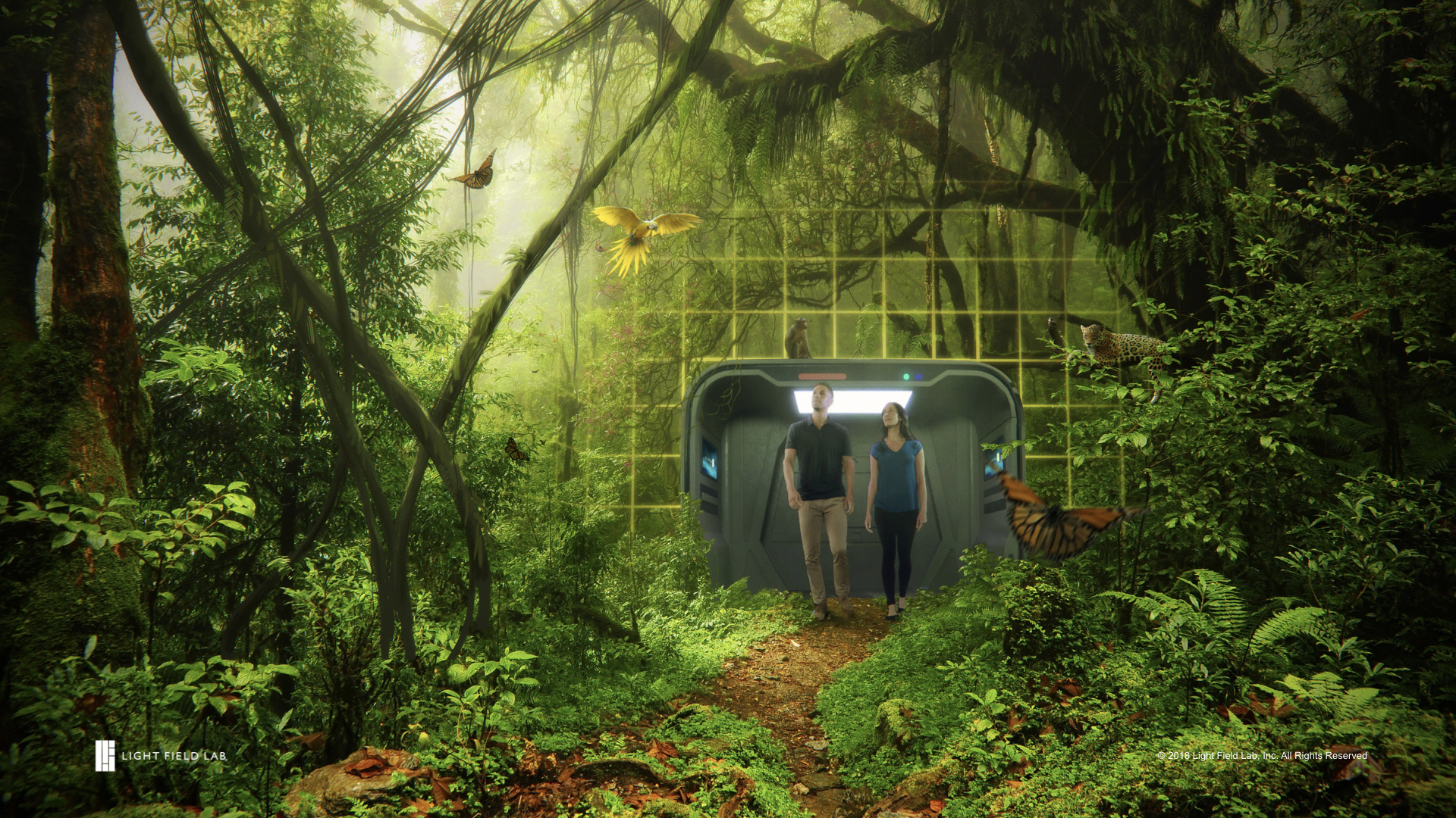 Future vision concept art of room scale holographic display from Light Field Lab, Inc.