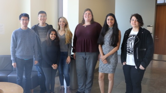 Dr. Heather Culbertson (middle maroon shirt) and team at the haptics lab at USC's Viterbi School of Engineering.