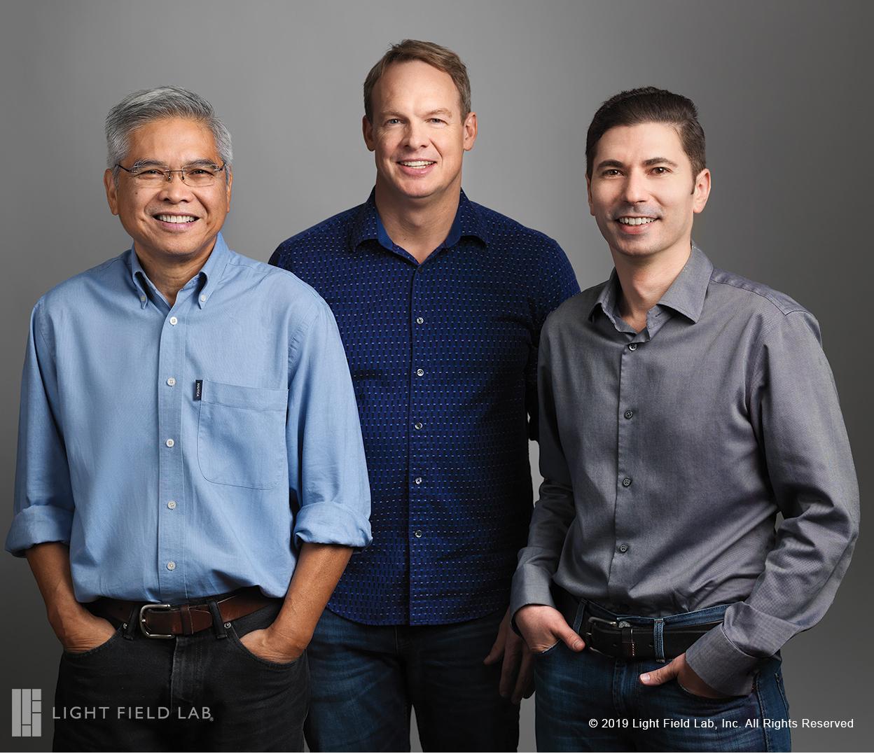 Light Field Lab, Inc. co-founders (L-R) Ed Ibe, VP Engineering, Brendan Bevensee, CTO and Jon Karafin, CEO