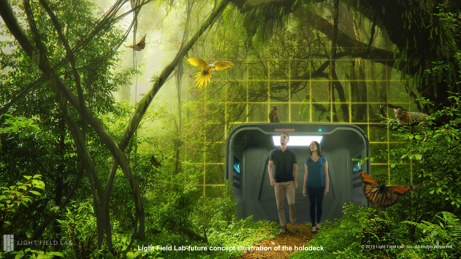 Light Field Lab future concept image of the holodeck-jungle.