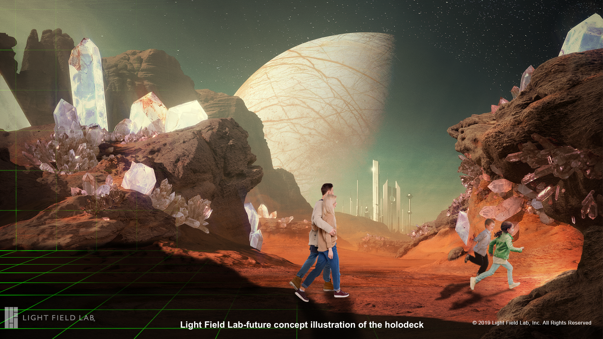 Light Field Lab future concept illustration of the holodeck-alien planet.