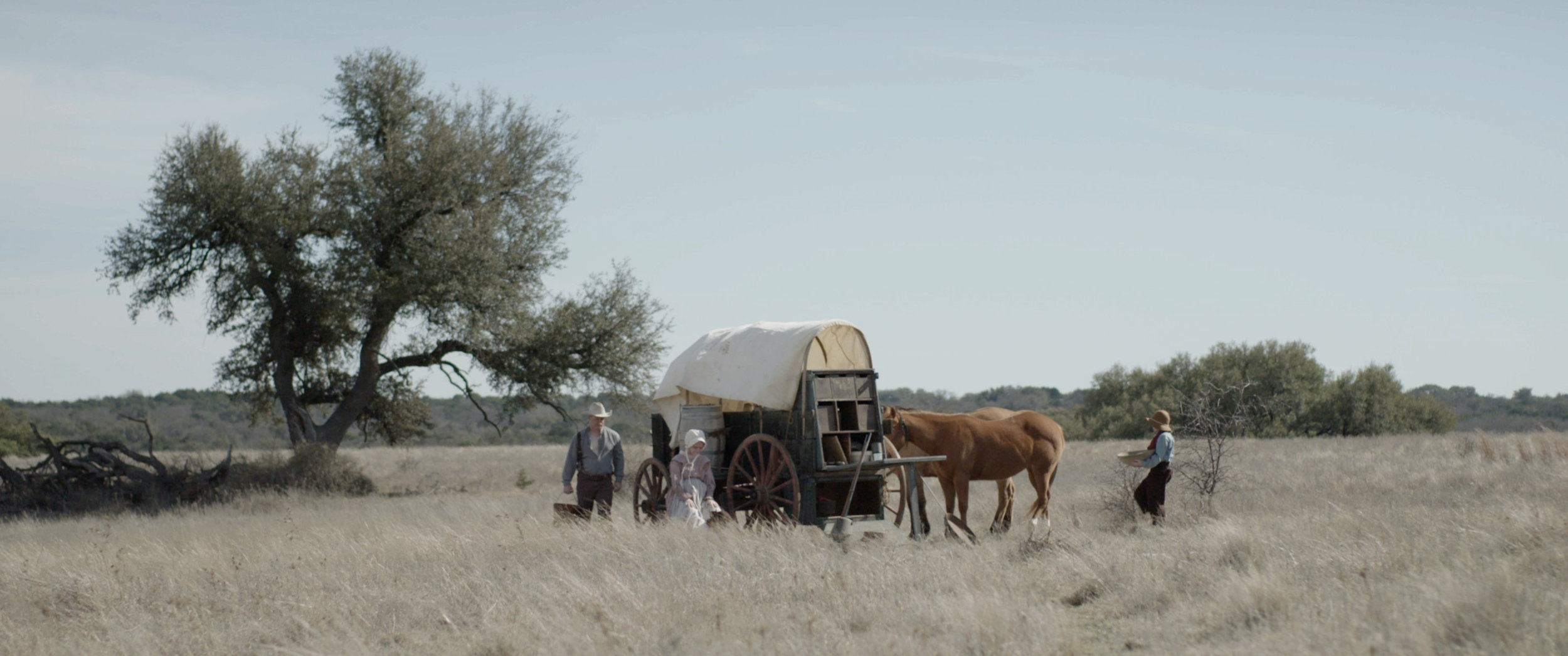 Red Steagall's Covered Wagon - A major theme in Thistle Creek is the undeniable presence of settlers disturbing Comancheria in Texas. As an homage to some of our favorite films like Kelly Reichardt Meek's Cutoff, we wanted to include the recognizable image of the covered wagon. The renowned Texan poet and musician, Red Steagall, generously lent us his 1800s covered wagon, fully equipt with all the fixin's.