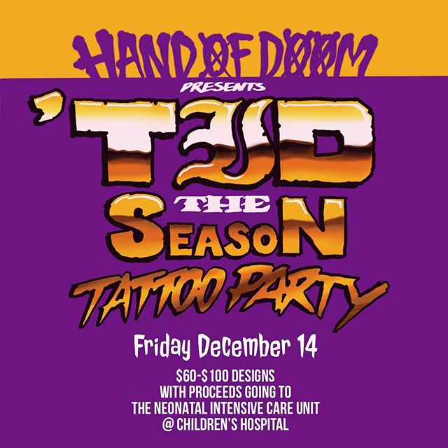 This is for a good cause and it's also gonna be a wicked ripper @handofdoomtattoos. Come get the ETID tat you've been dreaming of. You'll be able to pick from a selection of swell designs.
