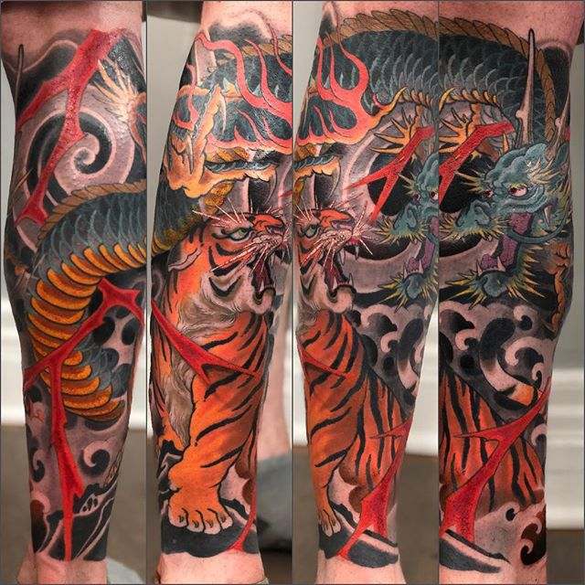 Finished this up today.  Thought it looked good, might delete later . . . . . #japanesetattoo #japaneseink #colortattoo #irezumi#irezumicollective #colorfultattoo #largetattoo #bodysuit#tigertattoo #tiger #dragon#dragontattoo #japanesetattoocollective #buffalotattooartist #buffalo