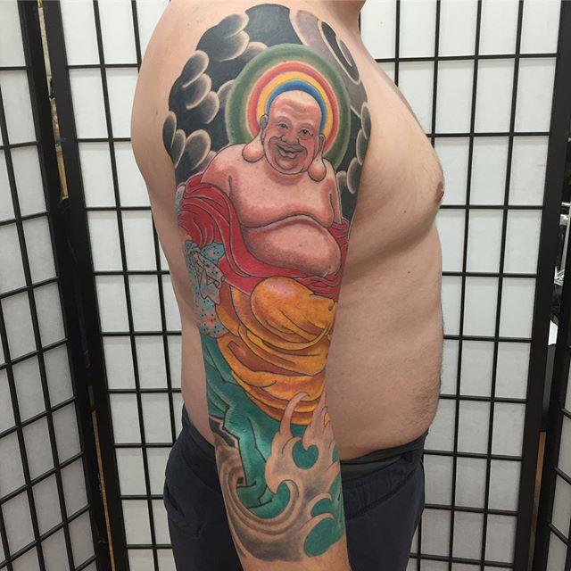 Big guy straight lampin . . . . . #japanesetattoo #japaneseink #irezumi #largetattoo#buddha #buddhatattoo#irezumitattoo #armtattoo#bodysuit#japanesetattoocollective #buffalotattooartist #tattooart #buffalo