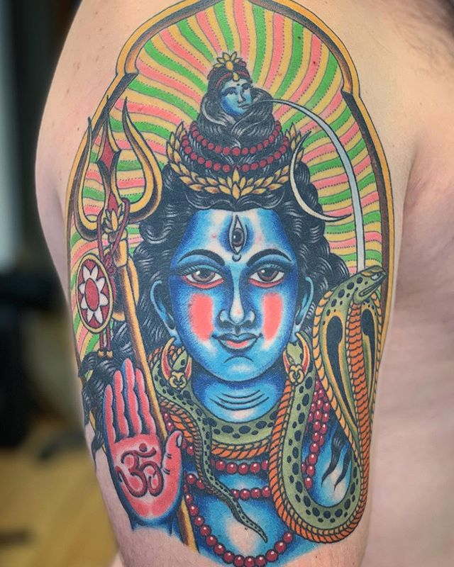 Shiva, done at @handofdoomtattoos. Travel dates: -Brooklyn, @greenpointtattooco Feb. 2nd - 6th (I have time to tattoo you on the 6th at noon) -Philadelphia, @easternpasstattoo. Feb. 7th and 8th (full availability) -Hudson Valley, @hudsonvalleytattoofest March 29th - 31st (full availability) -Scranton, @scranton_tatcon April 5th - 7th (full availability) -Rochester, @roccitytattooexpo April 26th - 28th (full availability) . DM or email me with your tattoo request to get an appointment at any of these locations. c.lombardi.tattooer@gmail.com . . . . . #chrislombarditattoo #traveltats #brooklyn #newyork #philadelphia #philly #hudsonvalley #hudsonvalleytattoofest2019 #scranton #pennsylvania #electriccitytatcon2019 #rochester #roccity #roccitytattooexpo2019