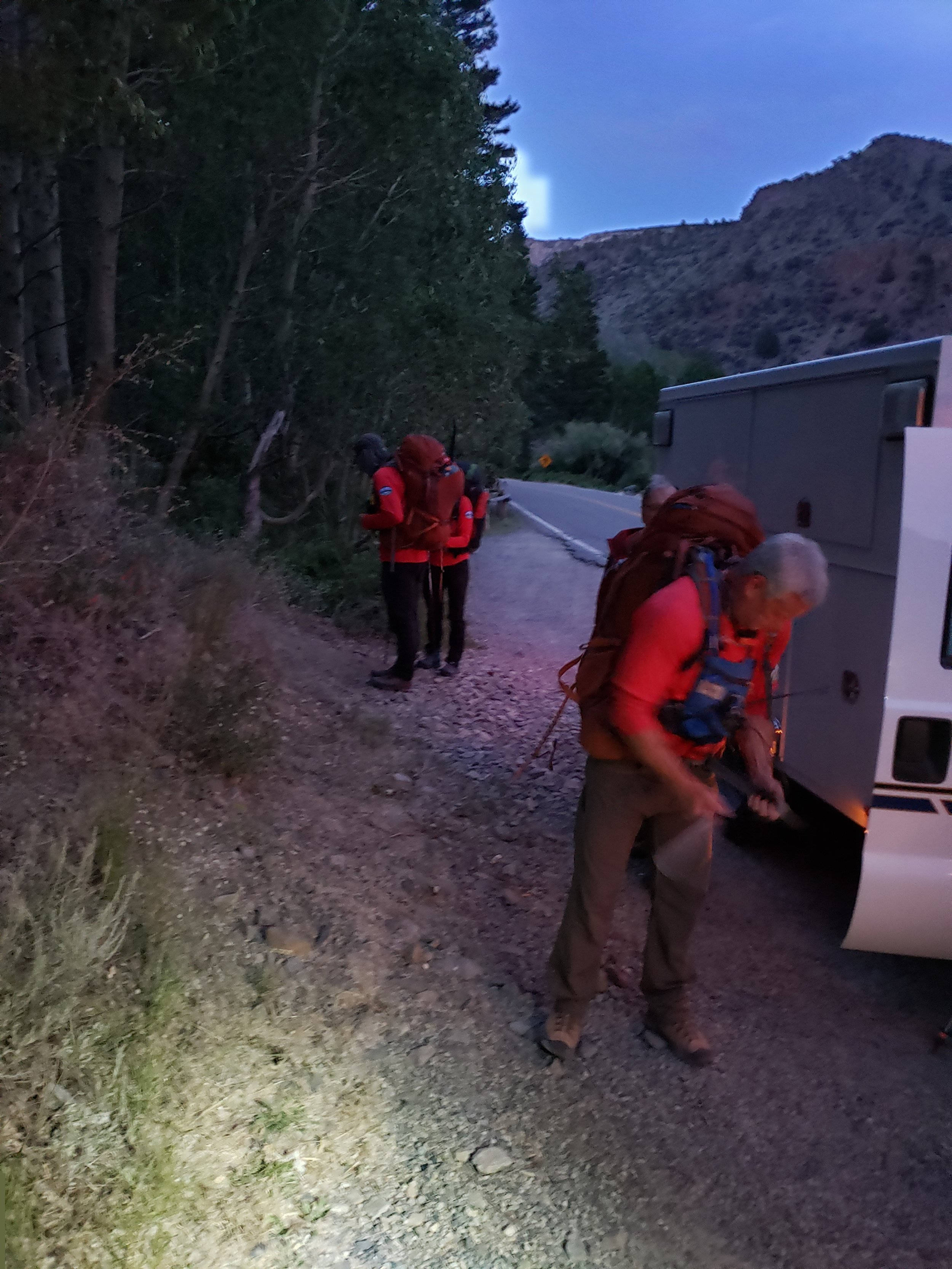 The field team preparing for a late-evening departure. Image by B. Beck