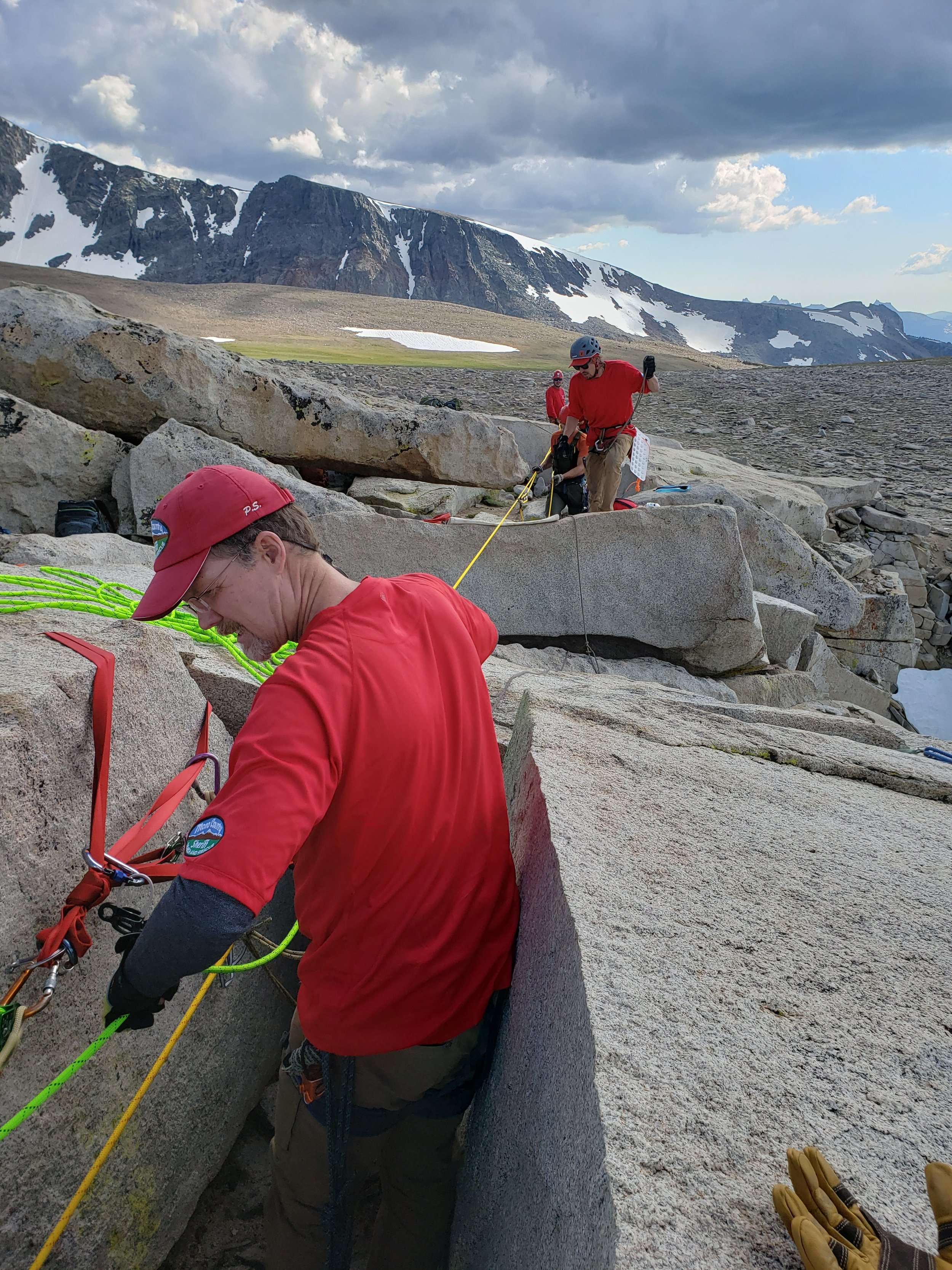 Manning the belay before conversion to twin-tension system. Image by B. Beck