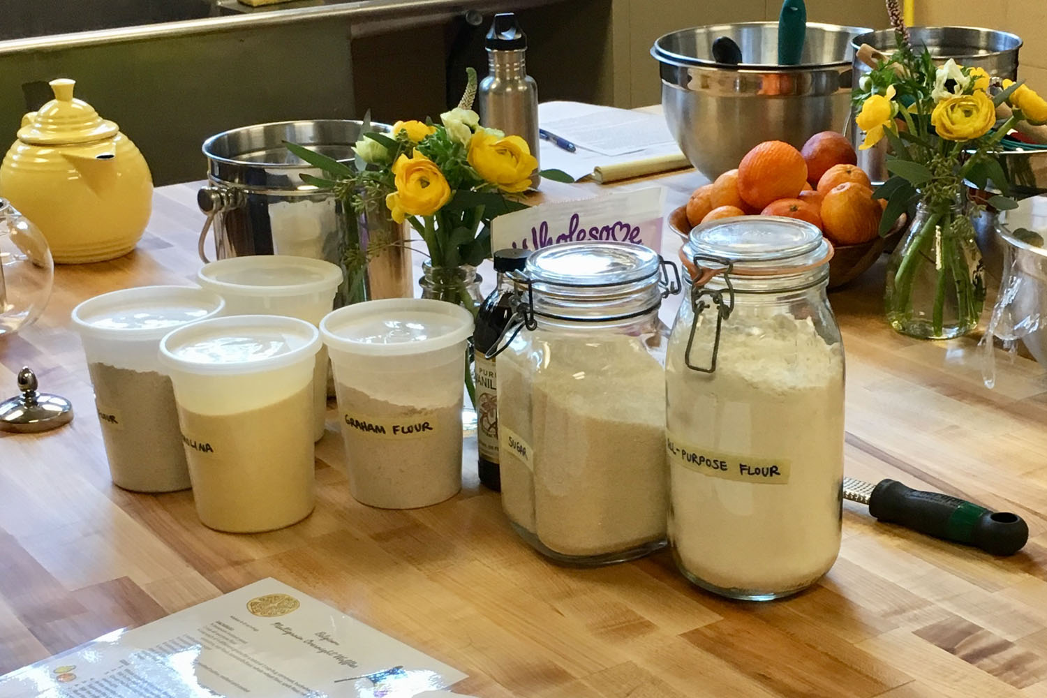 We used five different kinds of flour in our waffle batter: white wheat, semolina, cornmeal, buckwheat, and graham.