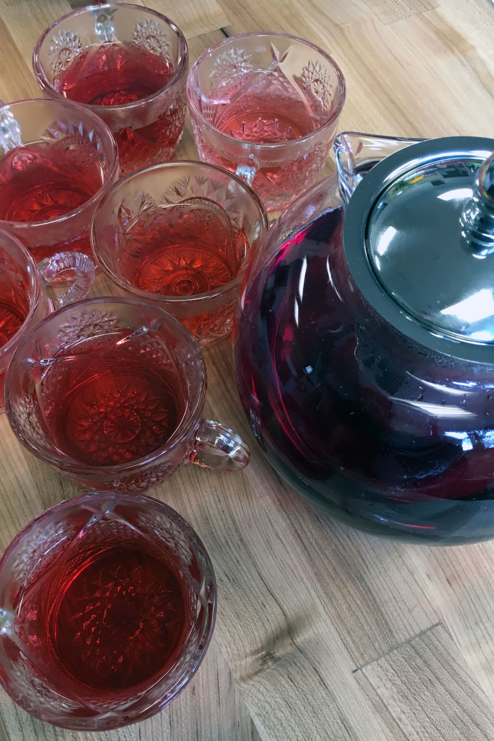 We start each morning with a tisane. This week we tried  agua de jamaica  (hibiscus tea).