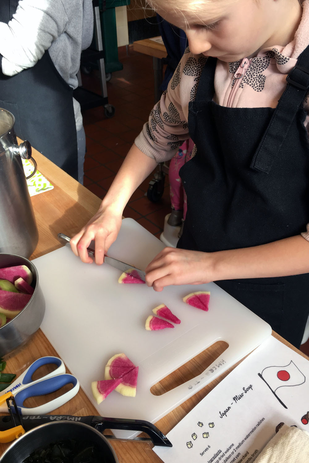 Watermelon radish is local, still in season, and added some whimsy to our soup when cut into wedges.