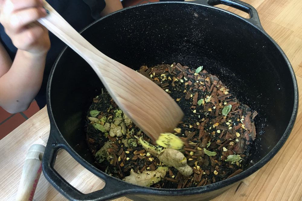 """We learned the verb """"to steep,"""" which in this context meant we heated the crushed spices with water and then let the mixture sit to allow the liquid to absorb all the flavors."""