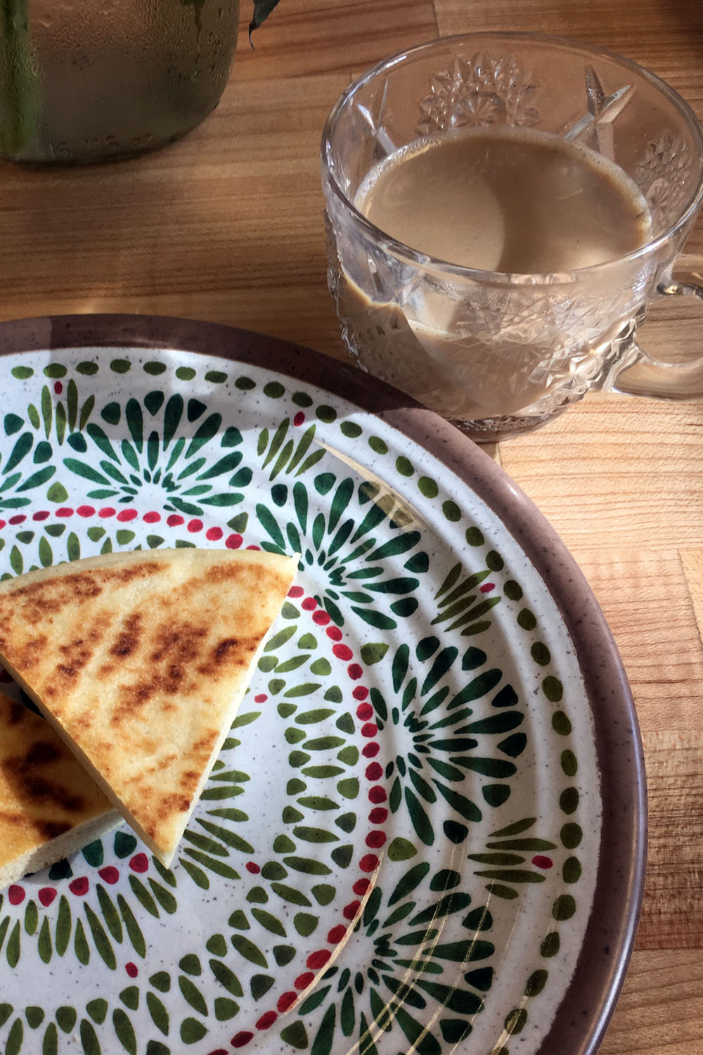 Our finished  chai , plus naan waiting to be brushed with ghee.