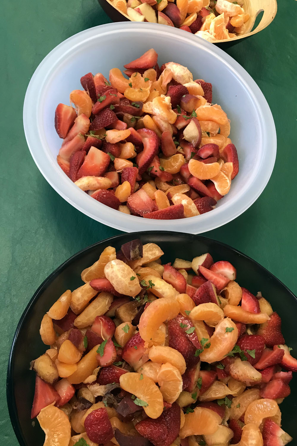 The finished fruit salad was beautiful to behold, with lemon balm from the HMCRA garden.