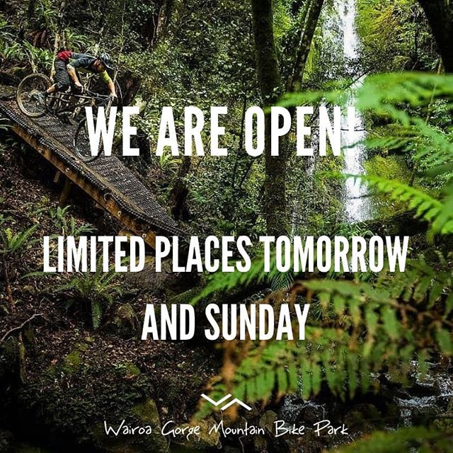 We are open!  We have very limited places available to ride at The Gorge tomorrow (Saturday) and Sunday. Let's Go!!!! Book your spot now at www.thegorge.nz  #thegorgenz #open #wgbp #thegorge #wairoagorge #thanktherain #nelsonmtb #nmtbc #nelsontasman #extraordinary