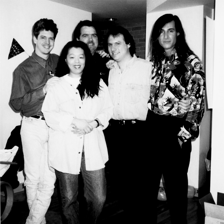 Jake Ivory's Piano Staff, 1993. From Left, Kevin Clover, Cyndi Chen, Arthur Offen, Billy Ward, Jon Sherman