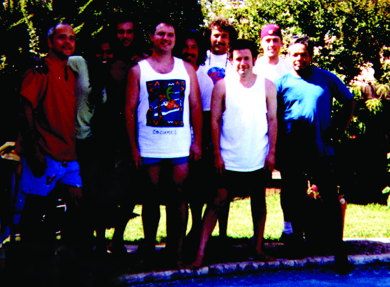 Howl at the Moon Piano Staff 1999. From Left- Sam Leatherwood, Martha Boles, Jon Sherman, Billy Ward, Roger Hunt, Brooks Manry, Tommy Raye Rodriguez, Eddie Thompson, Ricky Hernandez